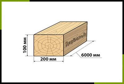Брус 100x200x6000