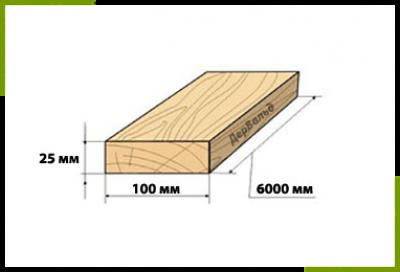 Доска дюймовка 25x100x6000 (2сорт)