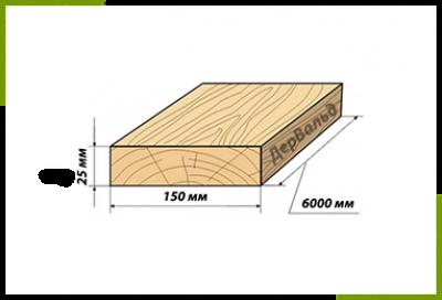 Доска дюймовка 25x150x6000 (2сорт)
